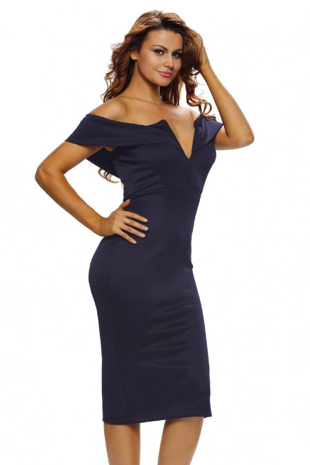 KELLIPS Stylish Off-the-shoulder Midi Dress