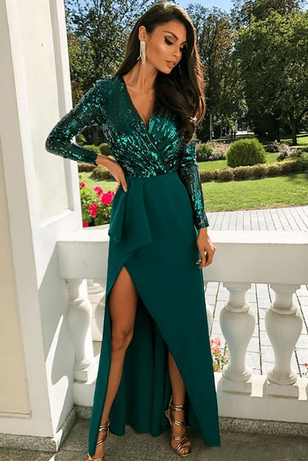 KELLIPS Long Sleeve Wrapped Sequin Long Party Dress