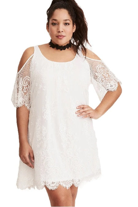 KELLIPS White Plus Size Summer Dress