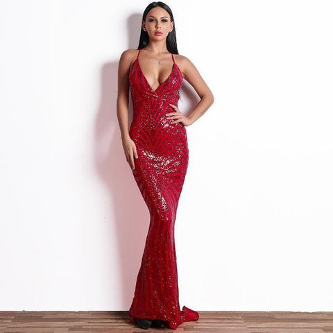 258ada4d KELLIPS Sequin Bodycon Maxi Party Reflective Dress ...