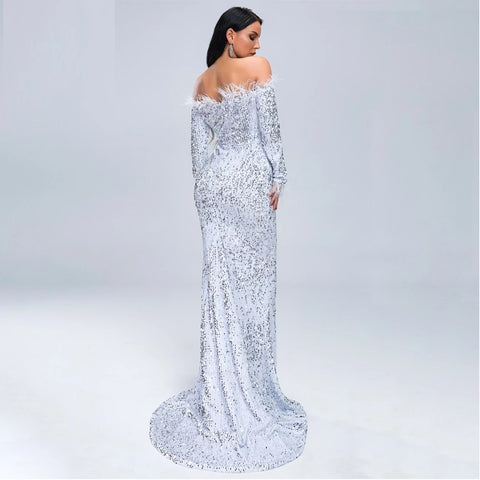 Kellips Women Sexy Off Shoulder Feather Long Sleeve Sequin floor length Evening  Maxi Reflective Party Dress