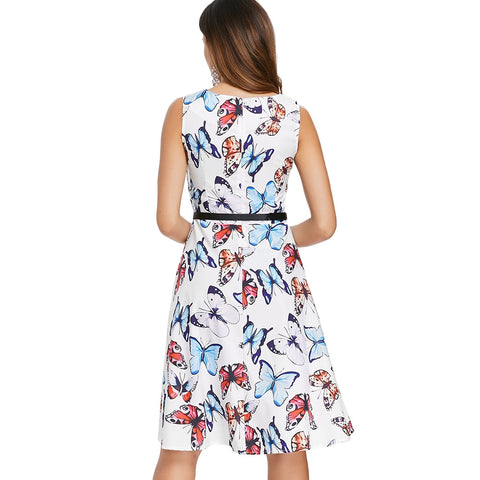 Butterfly Print Vintage Dress with Belt