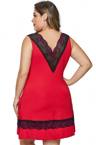 KELLIPS Red Plus Size v-neck Nightwear Lingerie