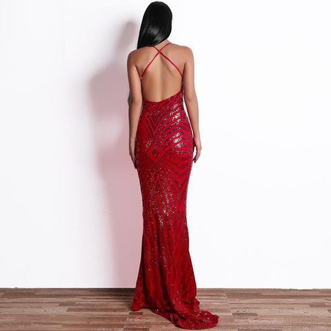 KELLIPS Sequin Bodycon Maxi Party Reflective Dress