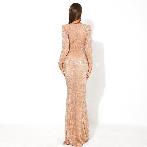KELLIPS Sexy Deep-V Long Sleeve Hollow Out Sequin Maxi Party Dress
