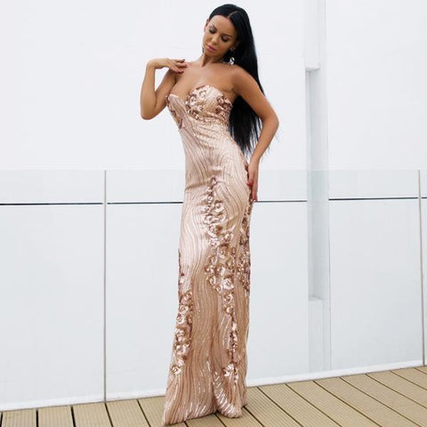KELLIPS Sexy Bra Off Shoulder Sequin Backless Party Bodycon Dress