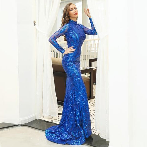 KELLIPS Sexy High  Neck Long Sleeve Sequin Maxi  Party Dress