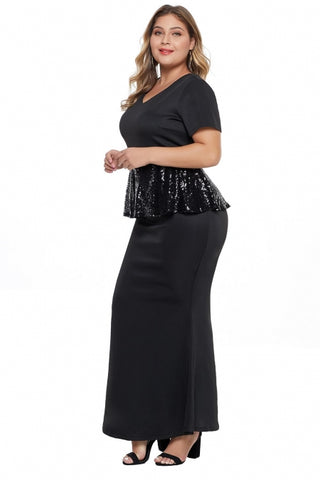 KELLIPS Sequin Peplum Waist Plus Size Gown Maxi Dress