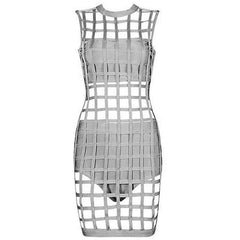KELLIPS 3Pcs Gray Caged Bandage Dress - KELLIPS