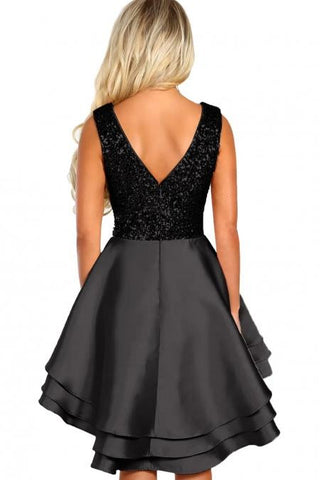 KELLIPS Black Gold Sequin Multi Layer Skater Mini Dress