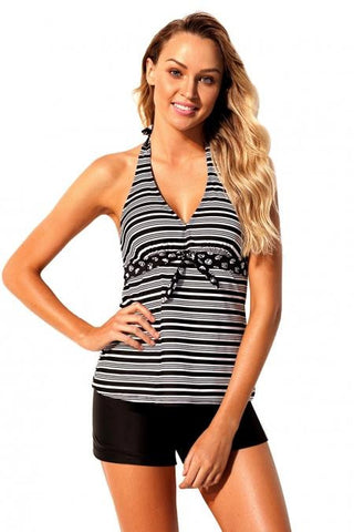 KELLIPS Black V Neck Stripe Print Halter Tankini Swimsuit Swimwear