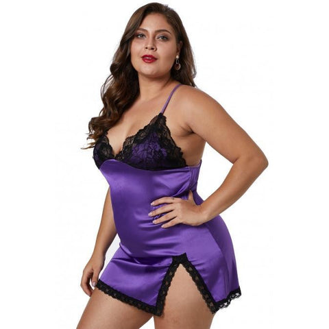 KELLIPS Purple Plus Size Satin Nightwear Lingerie