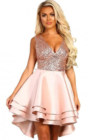 KELLIPS Pink Gold Sequin Multi Layer Skater Mini Dress