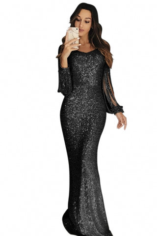 KELLIPS Stylish Sequin Fringe Sleeve Party Maxi Evening Dress