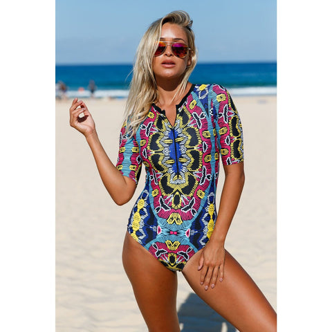 KELLIPS Abstract Print Zip Front Swimsuit
