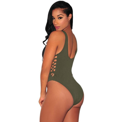 KELLIPS Army Green Lace Up High Cut Bodysuit