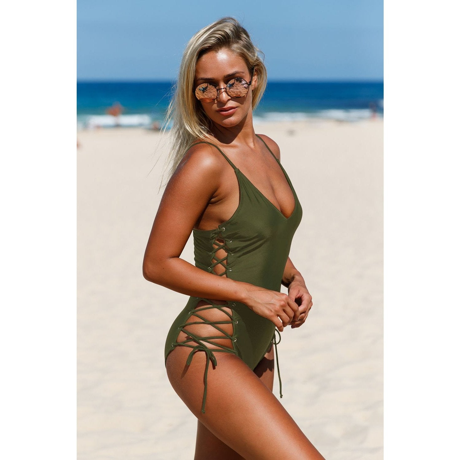 KELLIPS Army Green Strappy Swimwear - KELLIPS