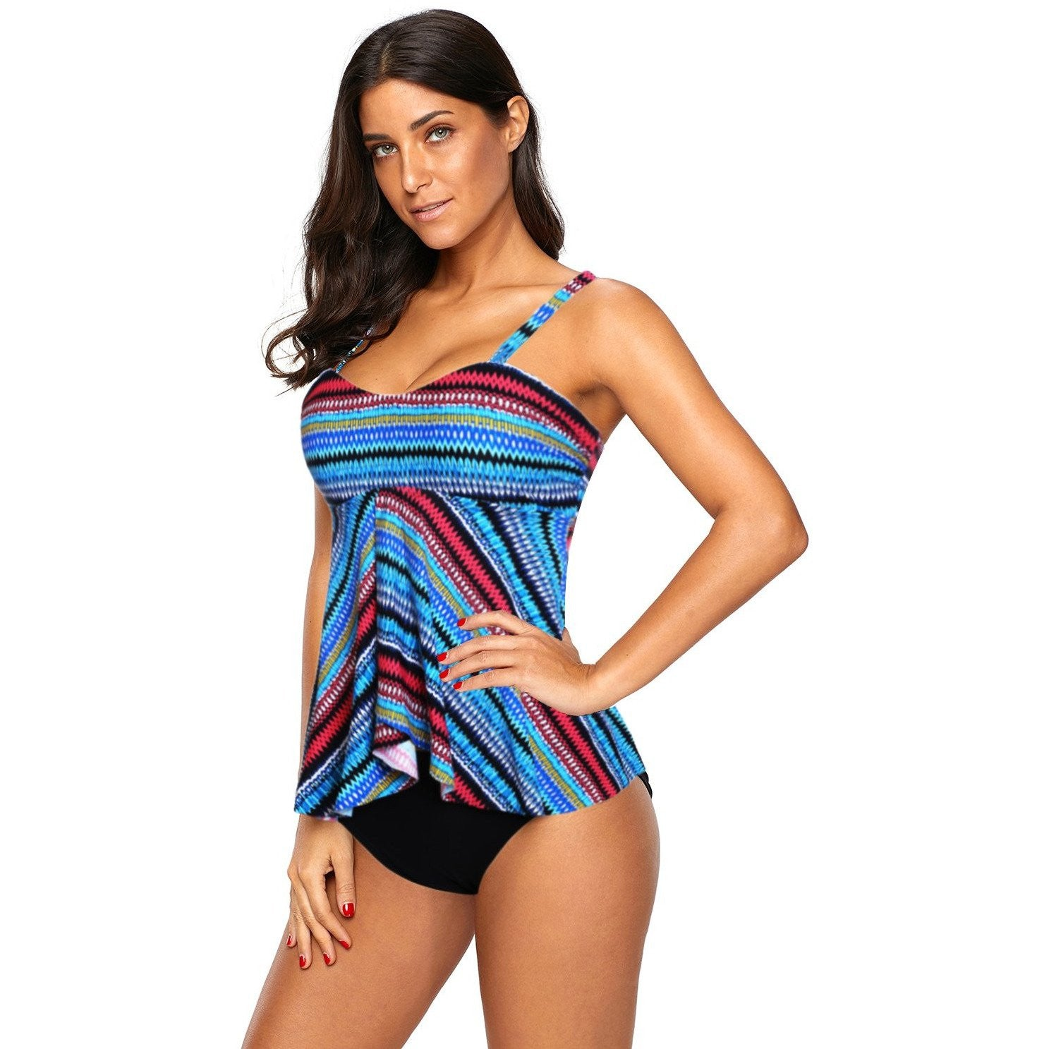 KELLIPS Blue High Waist Tankini Set - KELLIPS