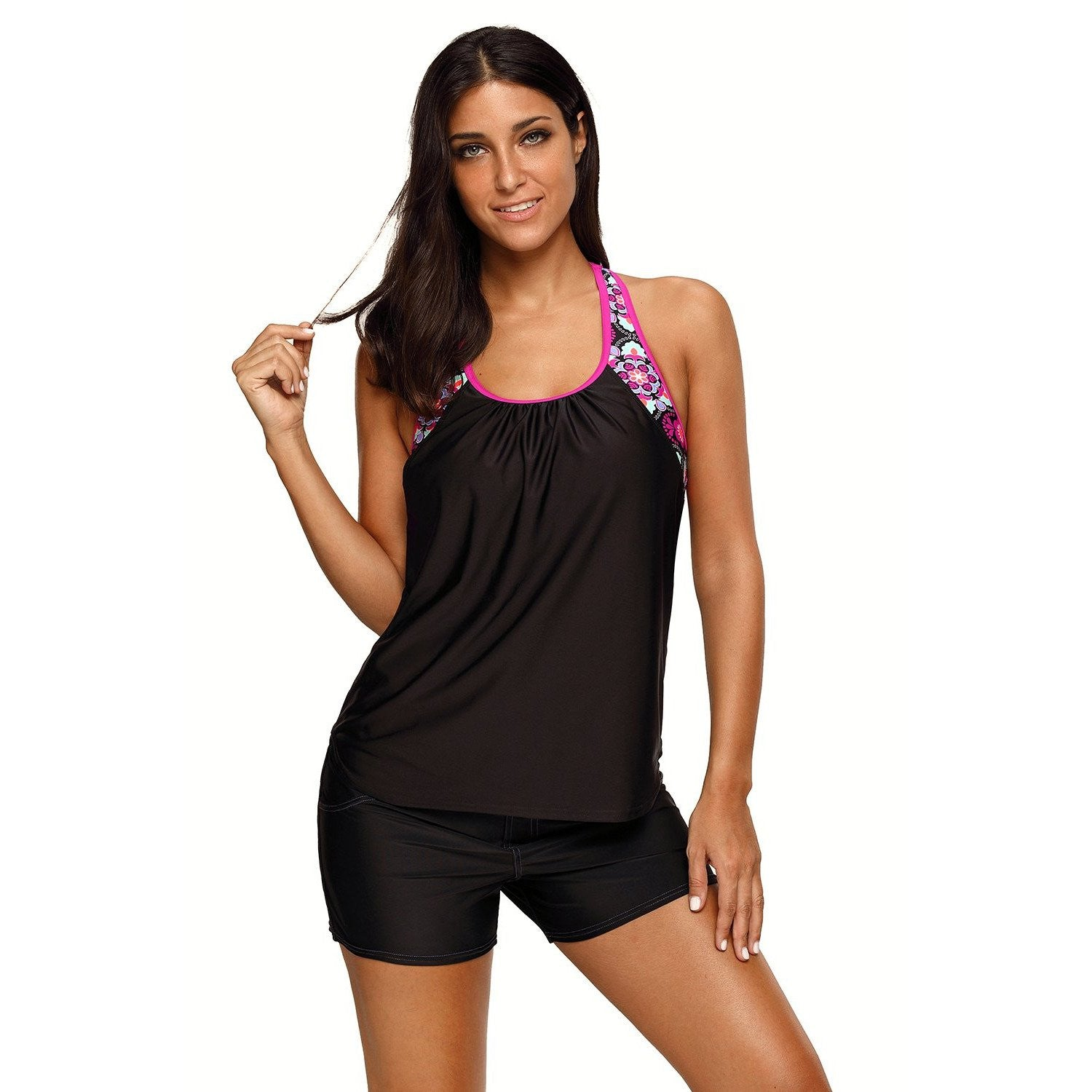 KELLIPS Black Blouson Style Summer Tankini Top - KELLIPS