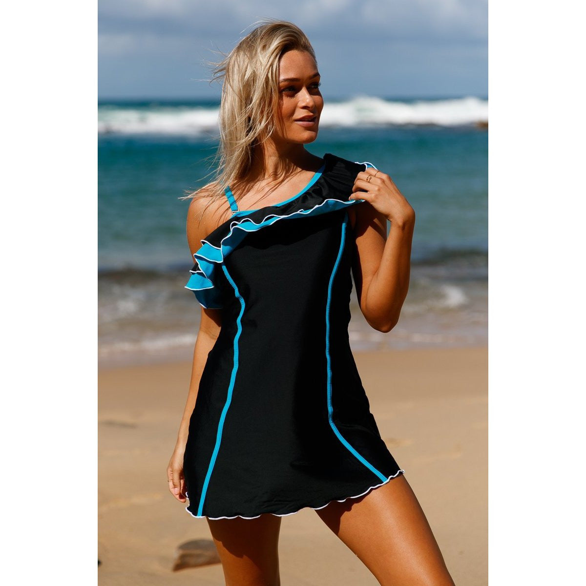 KELLIPS Black Ruffle Swim Dress With Shorts - KELLIPS