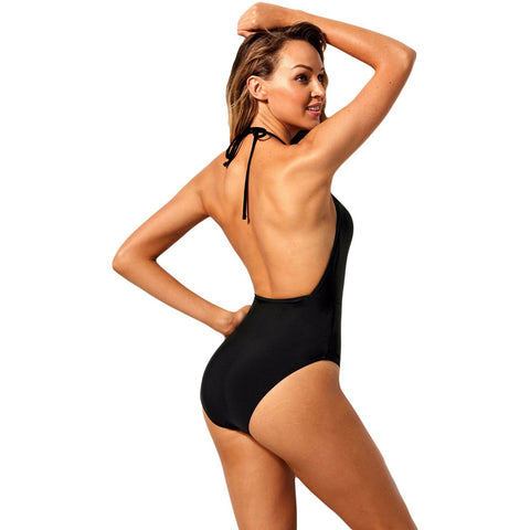 KELLIPS Black Caged Front Plus Size Swimsuit
