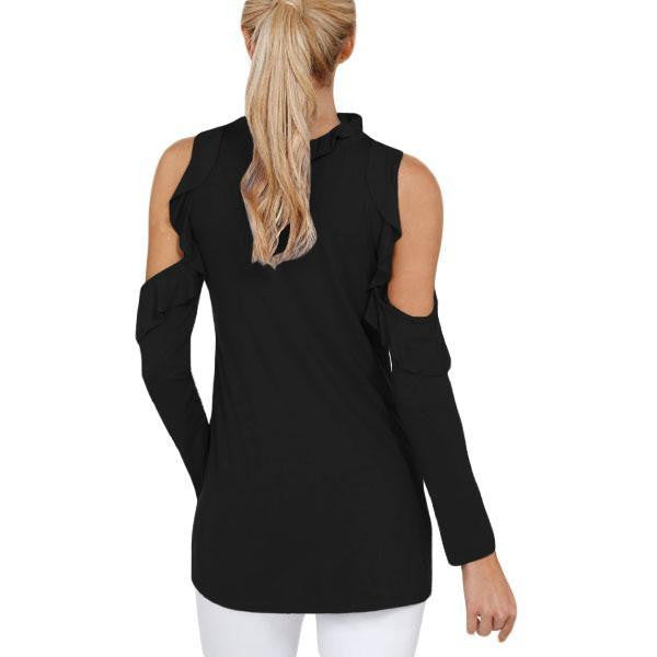 KELLIPS Black Cold Shoulder Ruffle Top - KELLIPS
