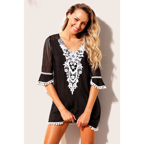 KELLIPS Black Beach Tunic Cover Up Swimwear