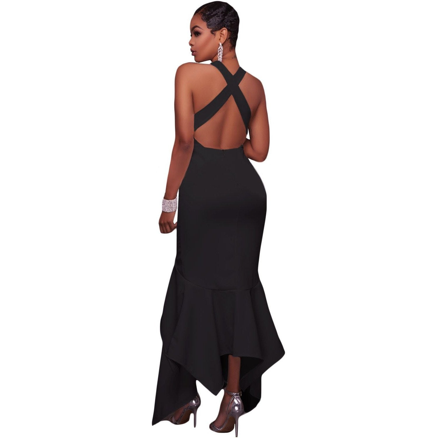 KELLIPS Black Asymmetric Hemline Maxi Dress - KELLIPS