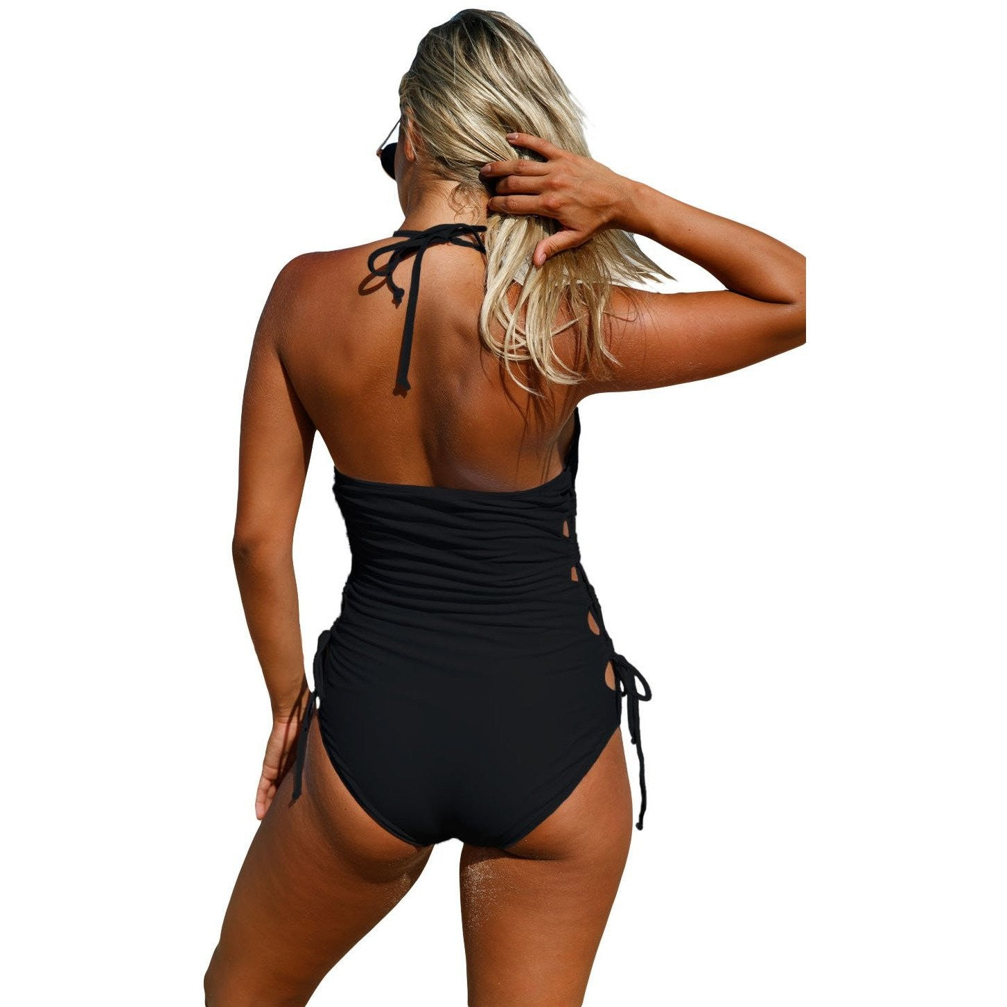 KELLIPS Black Halter Neck Monokini Swimwear - KELLIPS