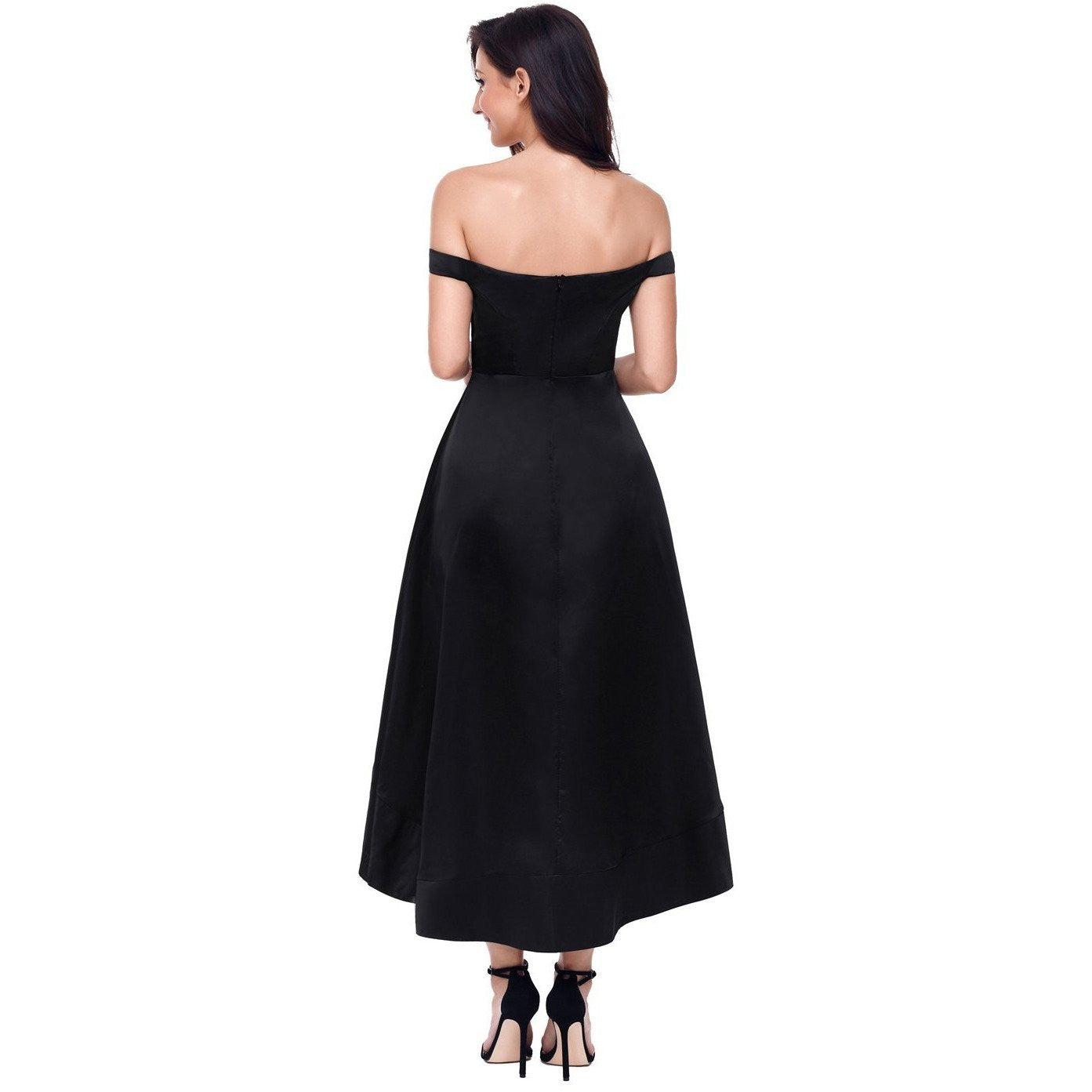 KELLIPS Black High-Shine High-Low Party Evening Dress - KELLIPS