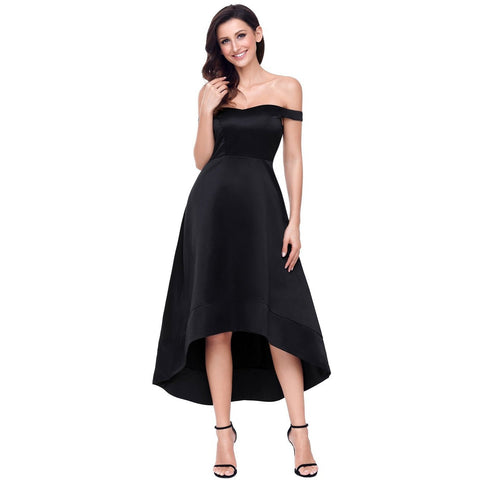 KELLIPS Black High-Shine High-Low Party Evening Dress