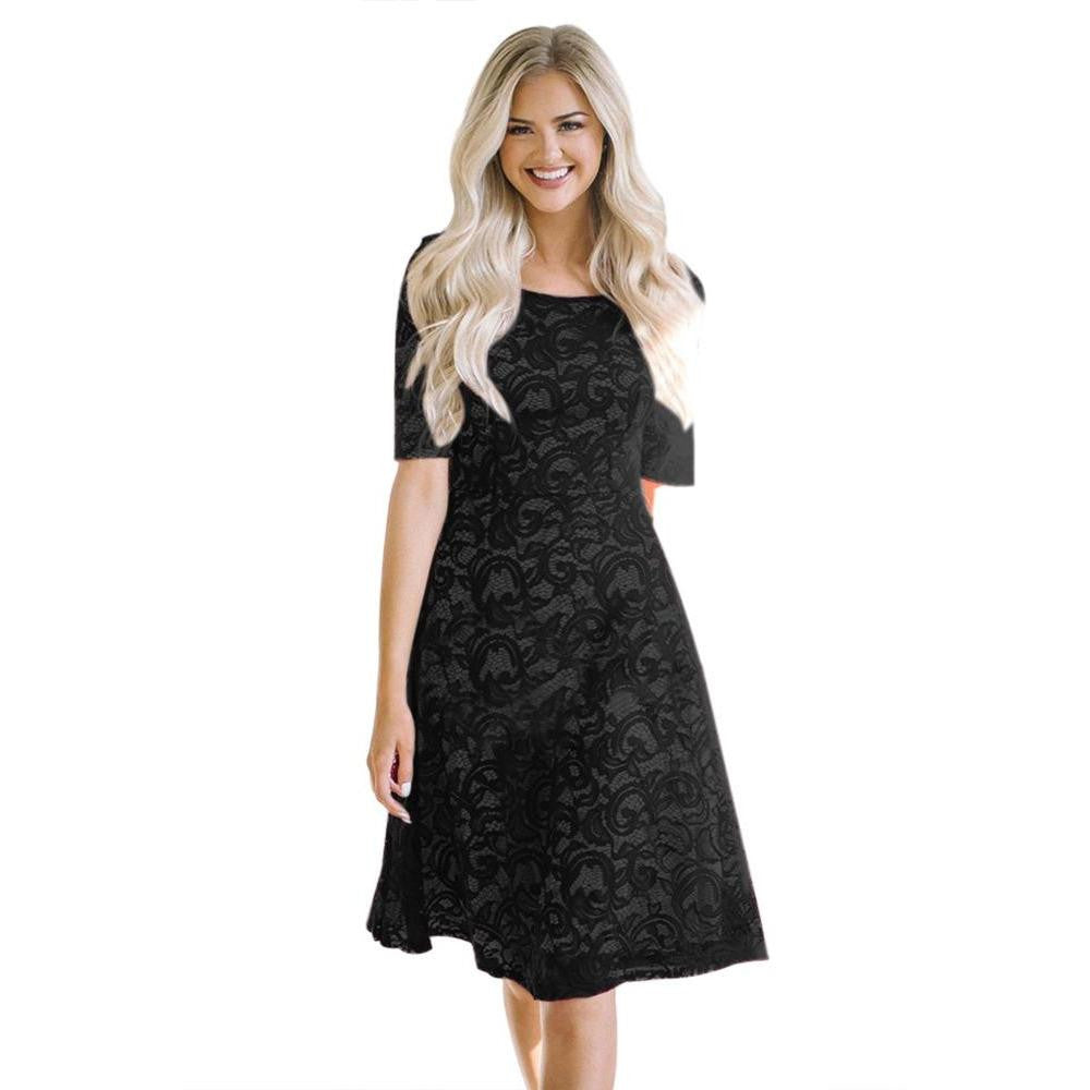 KELLIPS Black Lace Party Midi Dress - KELLIPS