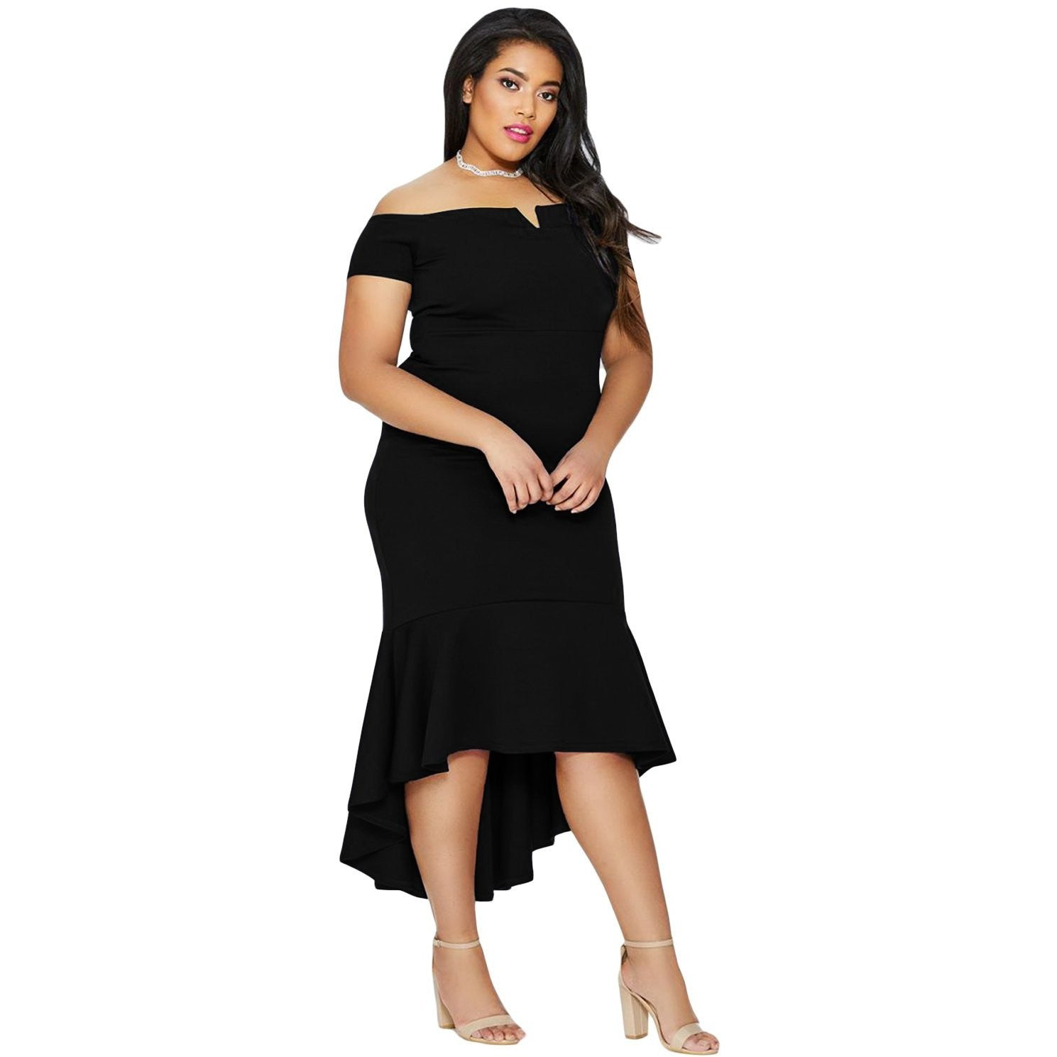 KELLIPS Black Plus Size Fishtail Midi Dress - KELLIPS