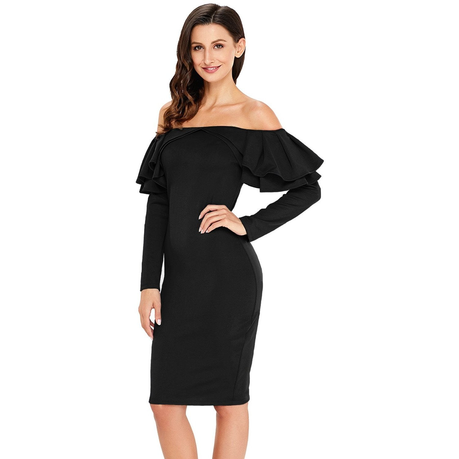 KELLIPS Black Ruffle Bodycon Dress - KELLIPS