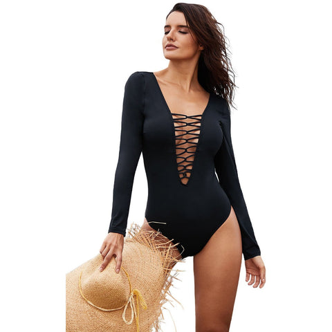 KELLIPS Black Sexy Lace Up Swimsuit