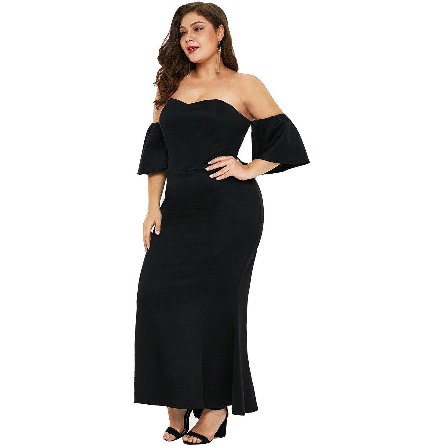 KELLIPS Black Sexy Strapless Plus Size Maxi Dress - KELLIPS