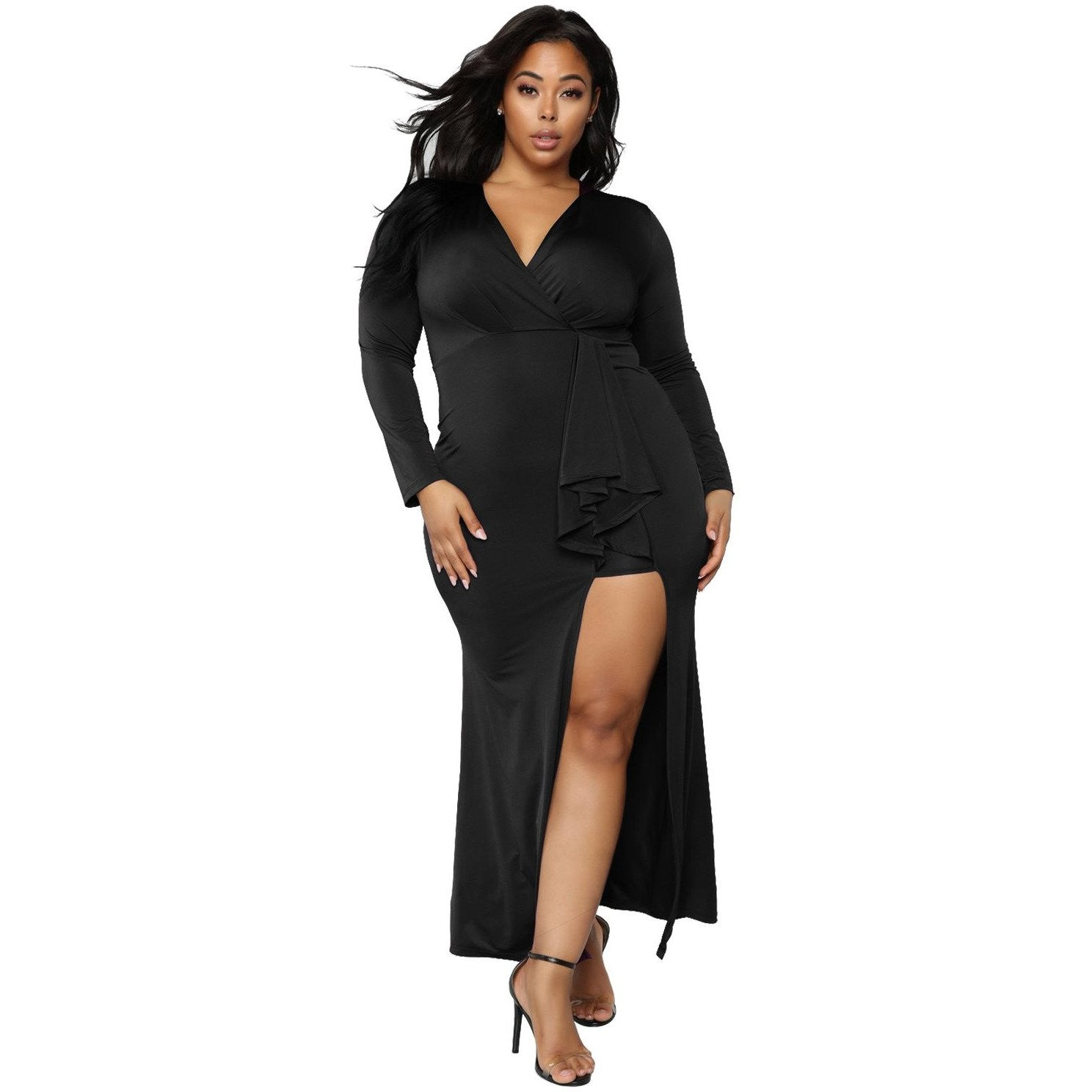 KELLIPS Black Sexy Plus Size Maxi Dress - KELLIPS