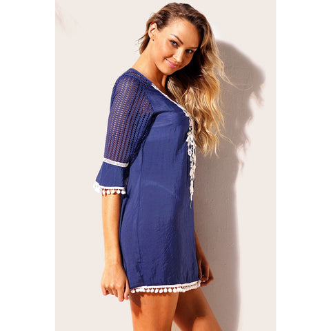 KELLIPS Blue Beach Tunic Cover Up Swimwear