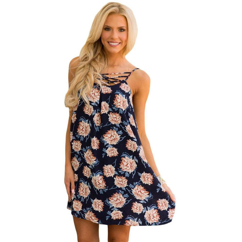 KELLIPS Blue Floral Print Shift Dress - KELLIPS