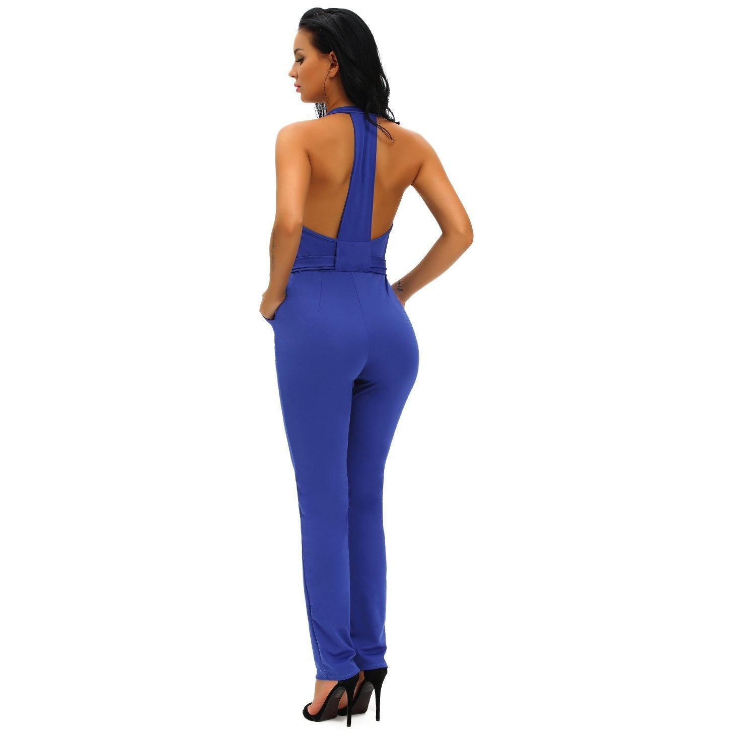 KELLIPS Blue Hollow Out Zipped Front Jumpsuit - KELLIPS