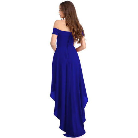 KELLIPS Blue High Low Hem Off Shoulder Party Dress