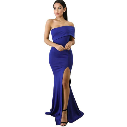 KELLIPS Blue Off The Shoulder Maxi Party Prom Dress