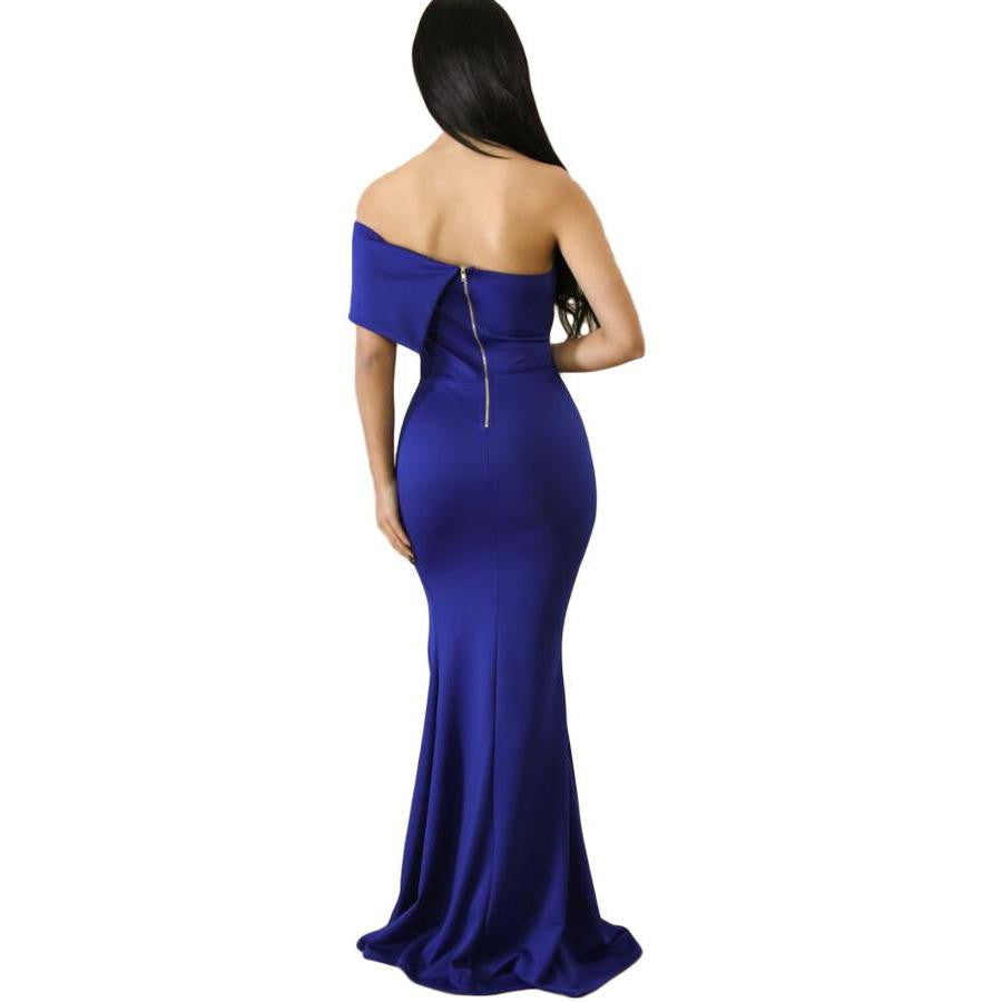 KELLIPS Blue Off The Shoulder Maxi Party Prom Dress - KELLIPS