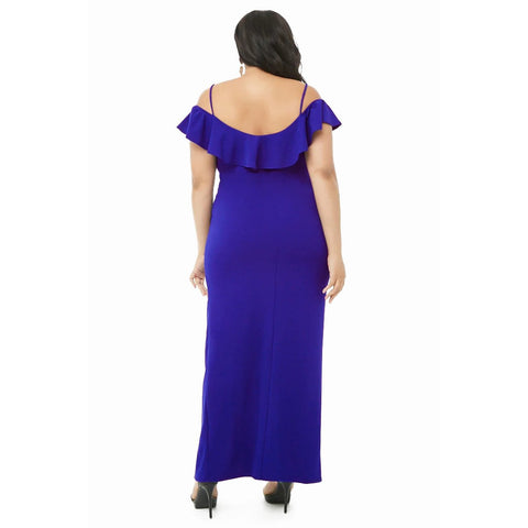KELLIPS Blue Plus Size Party Short Sleeve Dress