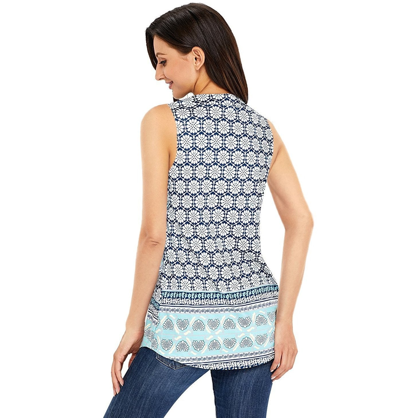 KELLIPS Blue Printed Tank Top - KELLIPS