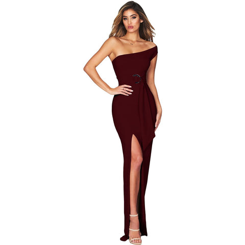KELLIPS Burgundy One Shoulder Party Maxi Dress