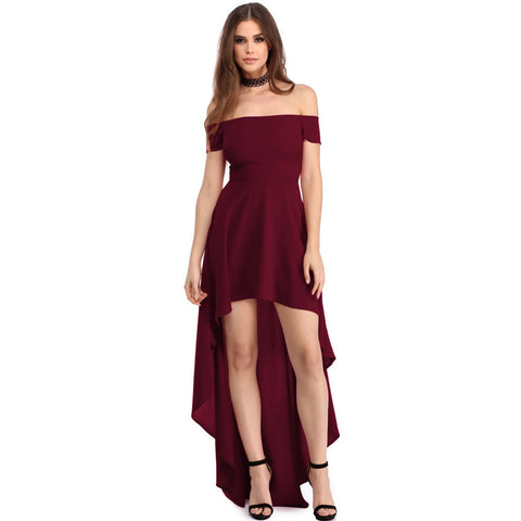 KELLIPS Burgundy High Low Hem Off Shoulder Party Dress