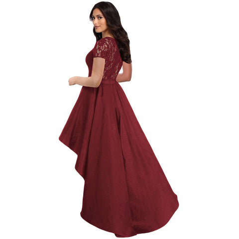 KELLIPS Burgundy Lace Bodice Hi-Low Party Dress