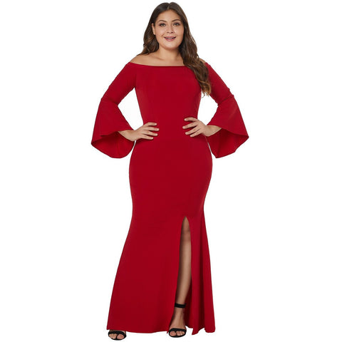 KELLIPS Slash Neck Chic Red Plus Size Maxi Party Dress