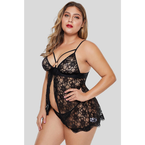 KELLIPS Black Floral Plus Size Babydoll With Thong Lingerie Nightwear